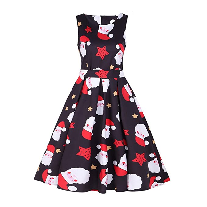 Women Dresses Godathe Womens Vintage Santa Christmas 1950s Retro Xmas Evening Prom Swing Dress S-3XL at Amazon Womens Clothing store: