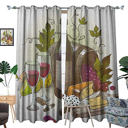 Warm Family Wine Room Darkening Wide Curtains Vintage Style Composition with Wine and Cheese Fruits Gourmet Taste Beverage and Food Customized Curtains W108 x L96 Multicolor from Warm Family