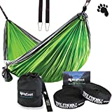 BigFoot Outdoor Double Tree Hammock Suspension System - w/ XL Straps - 34 Loops Total - Over 10.6 feet Long - 6.6 feet wide - 4 Steel Carabiners + Strap Carrying Pouch (Grey/Green)
