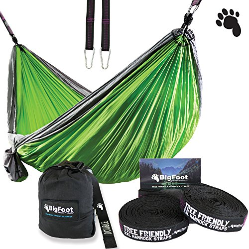 BigFoot Outdoor Double Tree Hammock Suspension System - w/ XL Straps - 34 Loops Total - Over 10.6 feet Long - 6.6 feet wide - 4 Steel Carabiners + Strap Carrying Pouch (Grey/Green) by Bigfoot Outdoor Products