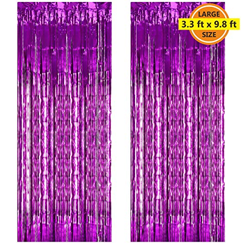 (2 Pack 3.3 ft x 9.8 ft Foil Curtains Metallic Fringe Curtains Shimmer Curtain Photo Backdrop for Halloween Christmas Birthday Party Wedding Decor)