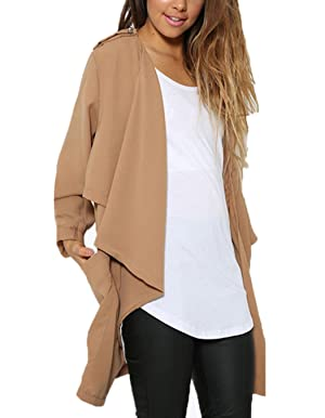 Women's Long Draped Open Front Cuffed Sleeve Chiffon Cardigan Tops with Pockets