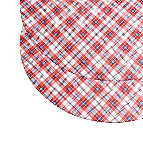 "Round Vinyl Tablecloth - Stitched Elastic Edge for Snug Fit up to 44 Inches - Heavy Duty, Felt Back, Plaid Pattern Table Cover, Easy Clean Up - Red, Blue, White - Fits up to 44"" Diameter"
