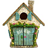 Twig & Flower The Adorable Believe Fairy Garden House – 8″ tall – Hand Painted (with Doors that Open) by