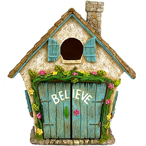 Twig amp Flower The Adorable Believe Fairy Garden House  8quot tall  Hand Painted with Doors that Open by