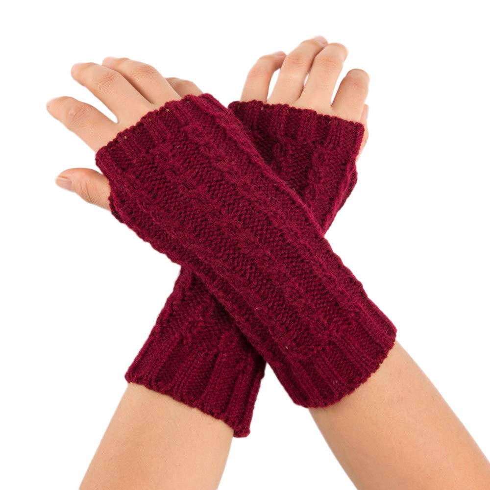 POIUDE Winter Women Gloves Sale Ladies Mitten Wrist Arm Warmer Solid Color Knitted Short Finge Gloves Arm Sleeve Free Size) POIUDE-baby clothes