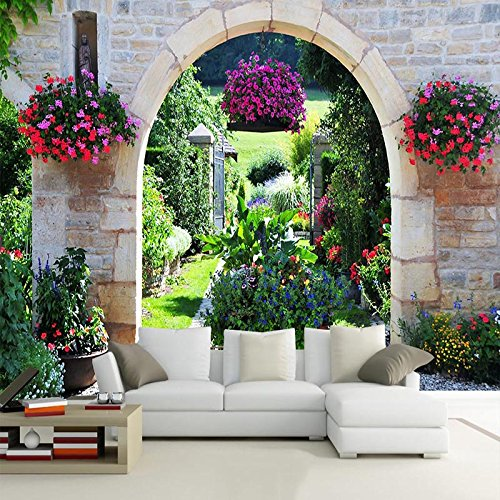 LWCX Mediterranean Garden Photo Mural Wallpaper Modern Landscape 3D Wallpaper Murals 250X175CM Garden Spot Wallpaper