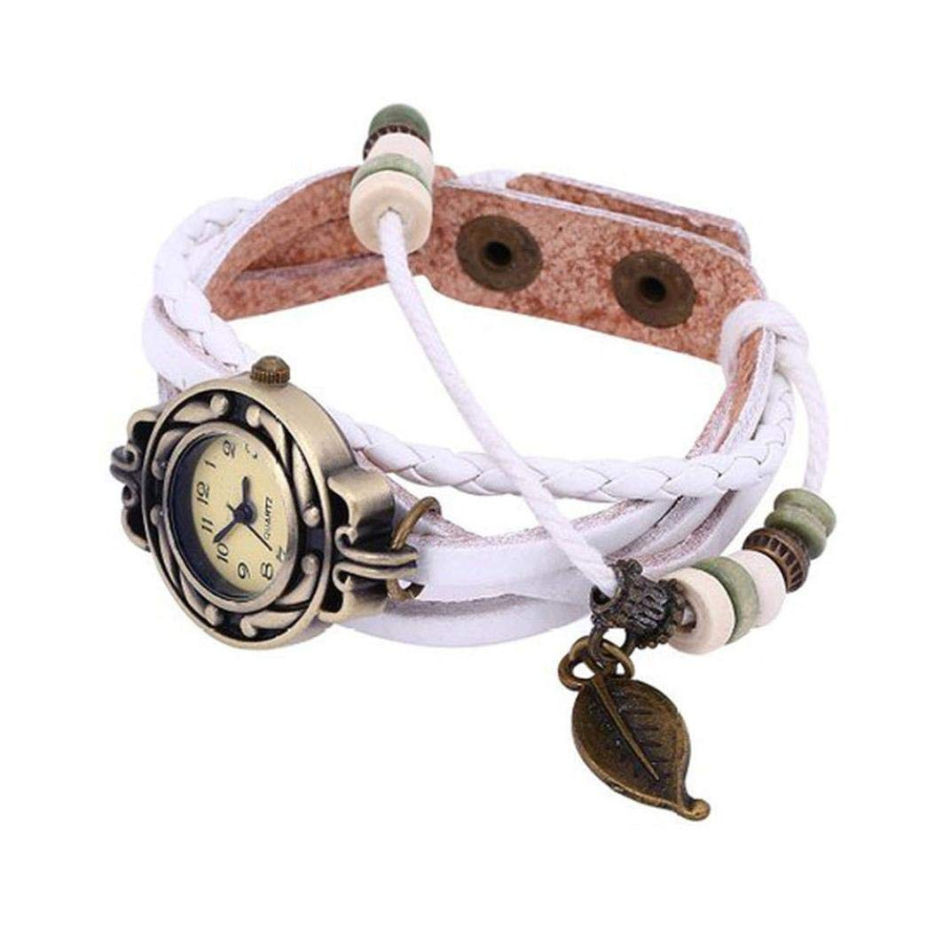 Bracelet Watches for Girls, Iuhan Women Quartz Bracelet Watch Fashion Multilayer Weave Wrap Around Leather Wrist Watch for Femals Gift (White)