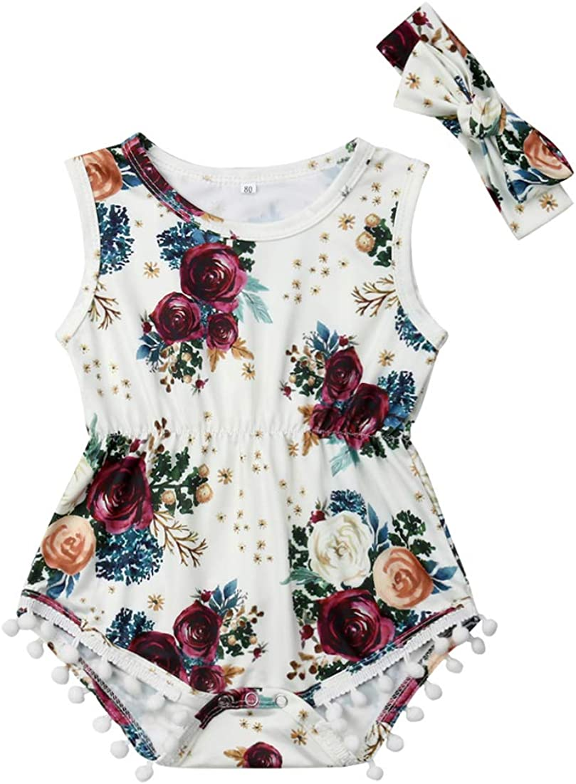 Newborn Baby Girl Floral Bodysuit Summer Clothing Sleeveless Susuit Tassel Outfit Headband Clothes Set Black