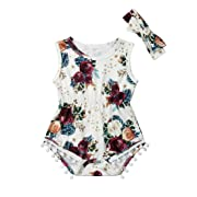 Newborn Kids Baby Girls Clothes Floral Jumpsuit Romper Playsuit + Headband Outfits (6-12 Months, White 2)