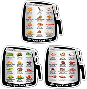 ZOWIE KING Air Fryer Magnetic Cheat Sheet - Cooking Conversion Magnet Refrigerator Magnet Quick Reference Stickers (Air Fryer Decals)