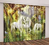 LB Unicorn Curtains for Bedroom Living Room,Unicorn in Wonderland Teen Kids Room Darkening Thermal Insulated 3D Blackout Curtains Drapes 2 Panels Set,42 x 63 Inches