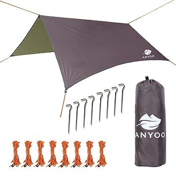 Anyoo Tarp Shelter Impermeable Ligera Hamaca Rain Fly 3 X 3 m Tienda de campaña Sunshade