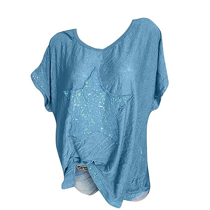 a270630d3 Camisetas Manga Corta Mujer Tallas Grandes Casual Blusas para Mujer Sexy  Elegantes Fiesta T Shirt Tops Verano Camisa de Murciélago Suelto 2019 POLP   ...