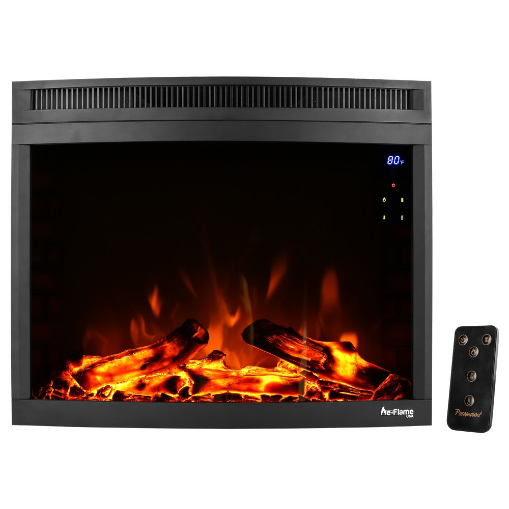 Edmonton Curved LED Electric Fireplace Stove Insert by e-Flame USA – 28-inches Wide – Digital Screen and Remote - Features Heater and Fan Settings with Realistic and Brightly Burning Fire and Logs by e-Flame USA