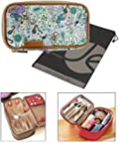 """Double-Sided Cosmetic Fabric Toiletry and Jewelry Bag Travel Organizer (8"""" L x 4.5"""" H x 3.5"""" W) with Bonus Reusable Bag"""