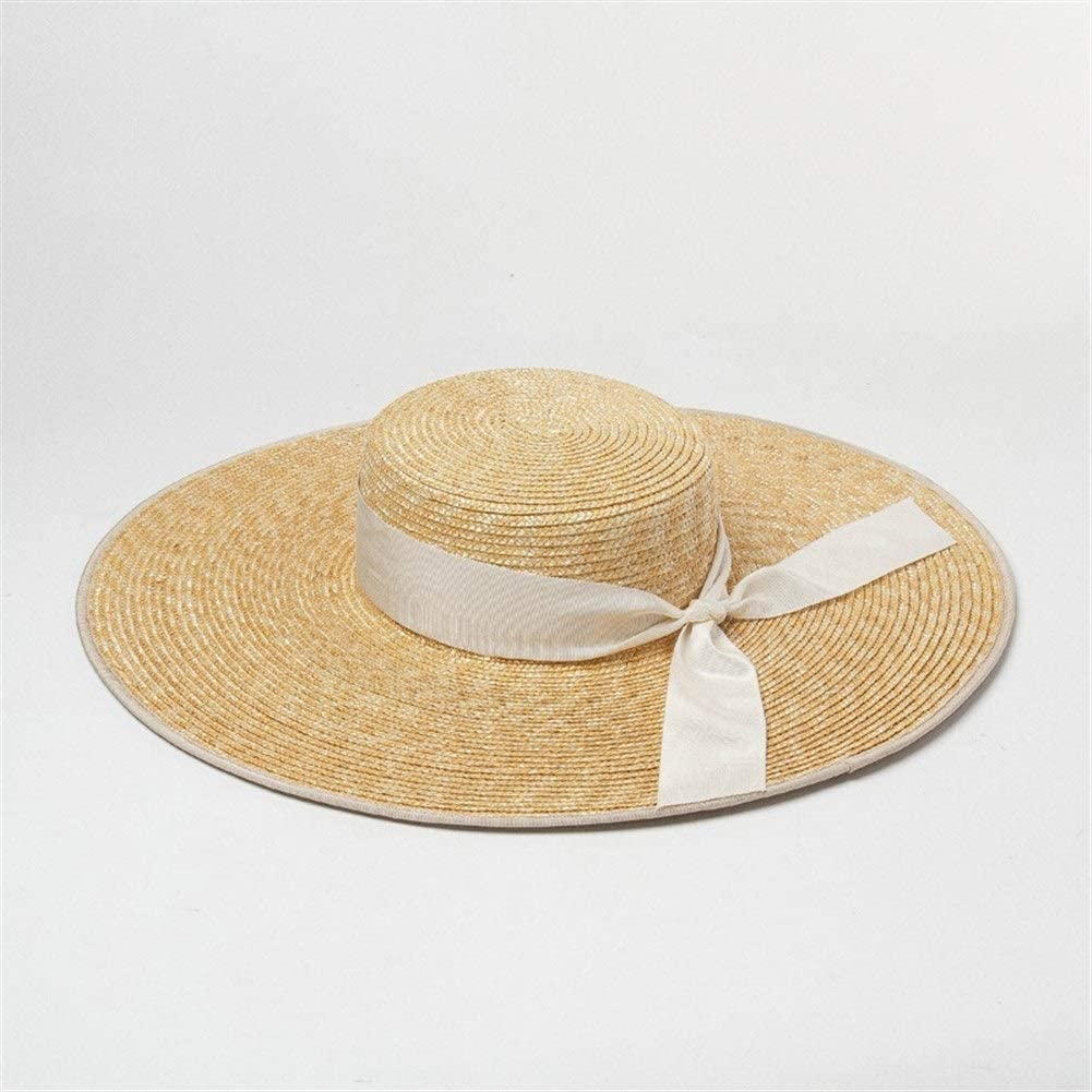Nuoke Spring and Summer Bow Decoration Edging Along The Flat Top Wheat Straw Hat Travel Sunscreen Style Flat Cap (Color : White Bow, Size : M)