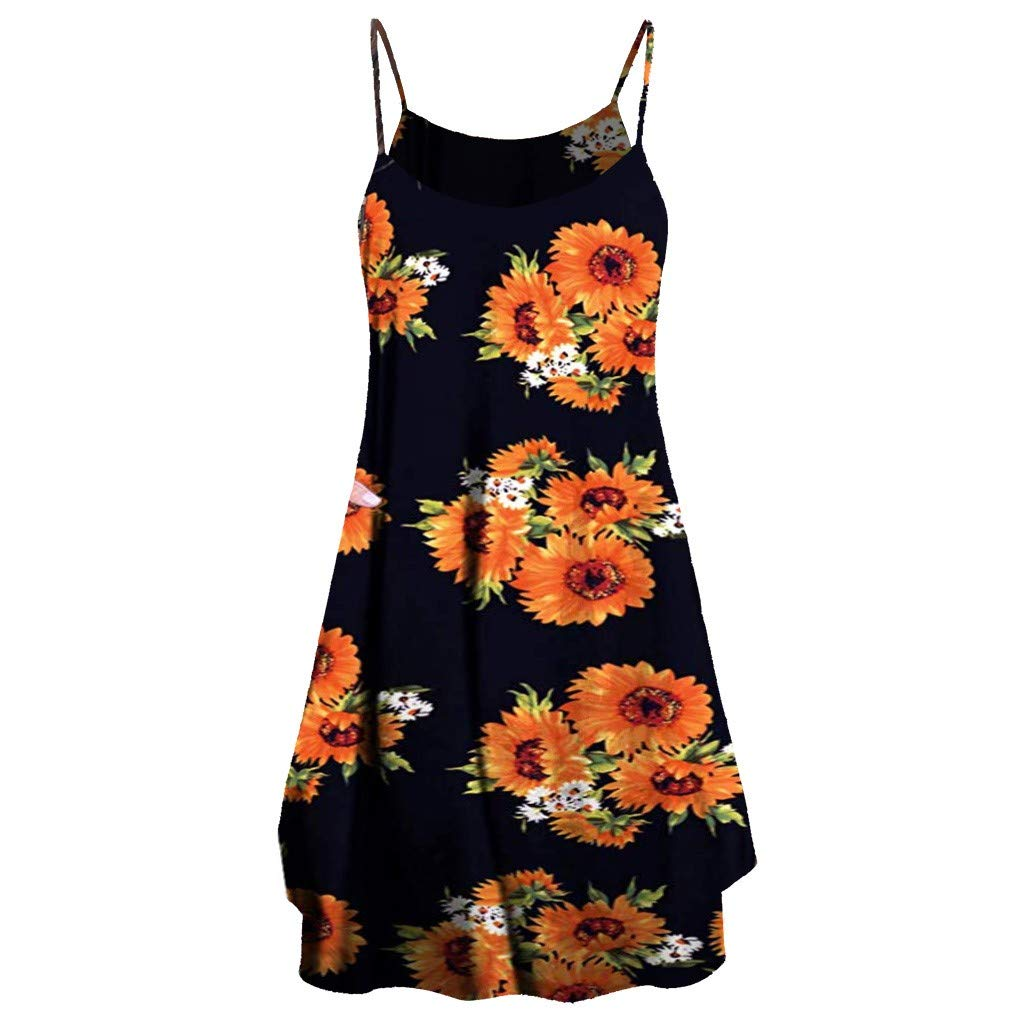 Womens Floral Print Midi Dresses Sleeves Bow Knot Bandage Suit Summer Casual Cover Up Vintage Straps Mini A-Line Tshirt Dress Loose Swing Flowy Pleated Floral Sun Dress