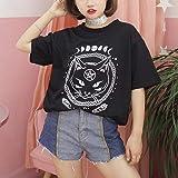 Leoy88 Girl Funny Short Sleeve Moon Cat Print Punk