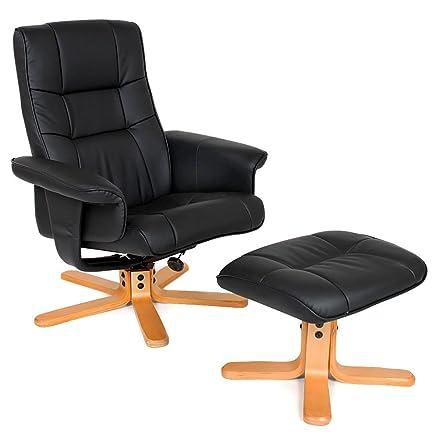 TecTake Poltrona TV relax reclinabile con poggiapiedi nero ...