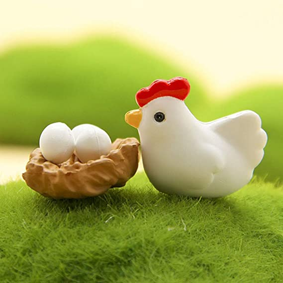 12Pcs Miniature Hen Chicken Family Egg Statue Figurine Doll House Garden Decor