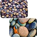 Home Improvement Decor Door Mat Set Of 2 Matching Non Skid Indoor / Outdoor Accent Rugs Plate Area Doormats, 24X16 Each - Rocks Edition