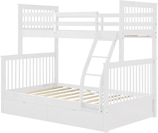 PIKA PIKA QIO Estructura De Cama Litera Doble sobre Escalera con escaleras y Dos cajones de Almacenamiento: Amazon.es: Hogar