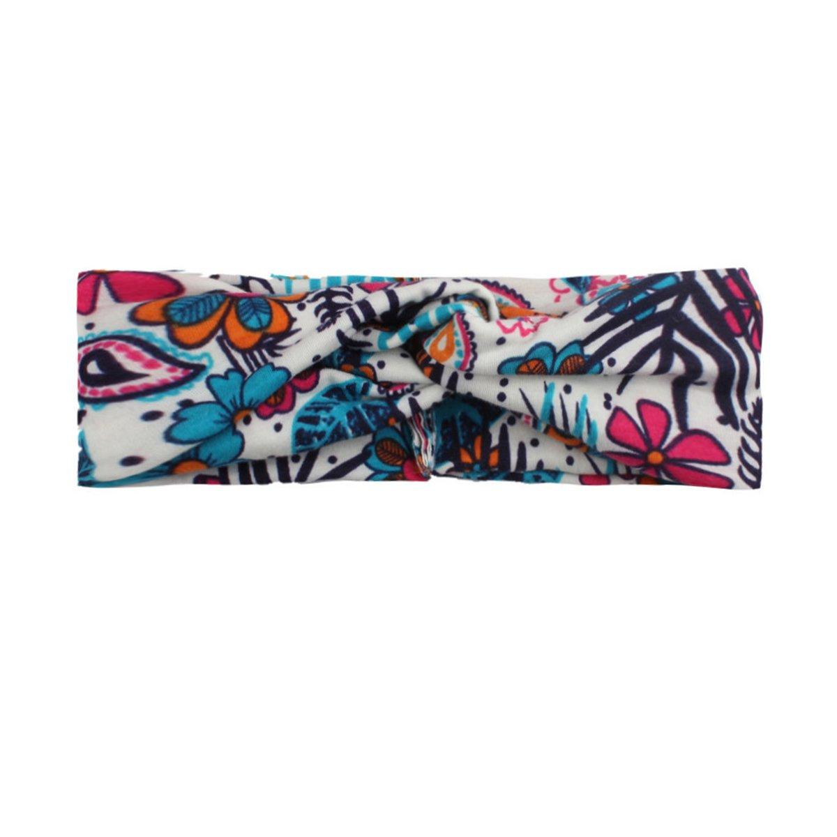Calliar Womens Fashion Flower Bow Head Wrap Headbands Elastic Hair Band,7 Pack-Color 1