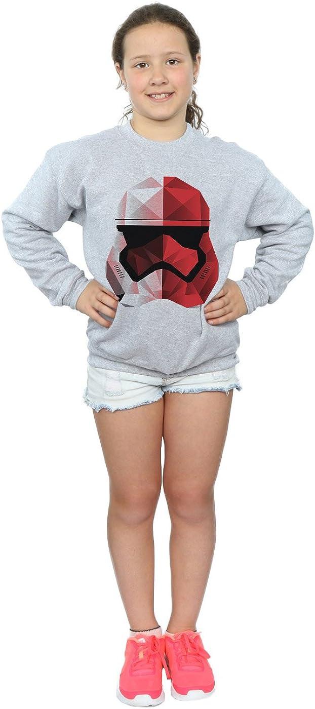 Star Wars Girls The Last Jedi Stormtrooper Red Cubist Helmet Sweatshirt 9-11 Years Sport Grey