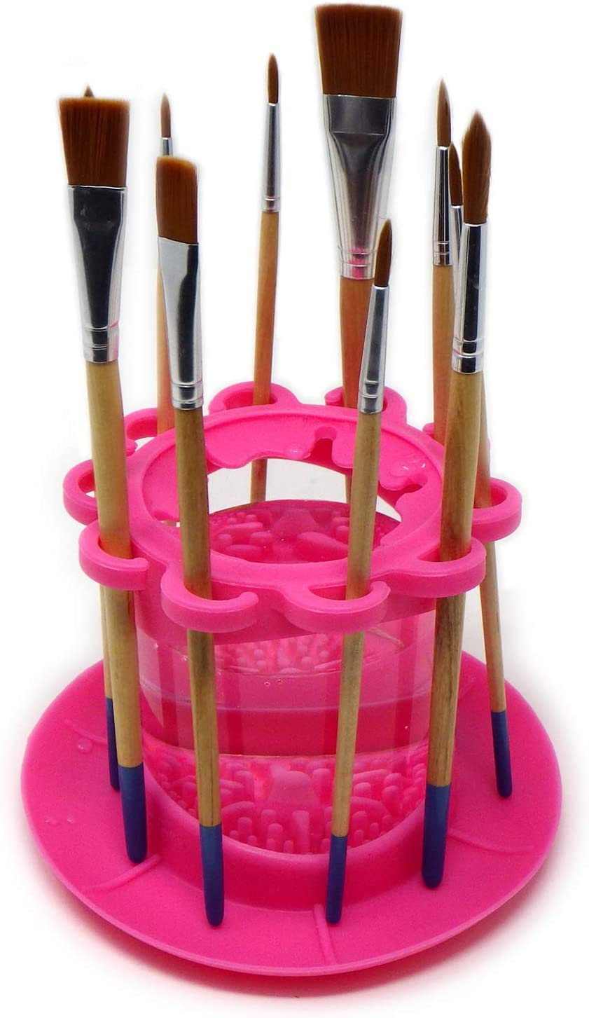 Studio and Water-Based Mediums/… All-in-One Brushes Holder /& Silicone Cleaning System for Acrylic Watercolor Classroom Fine Art Paint Brush Cleaner Rinse Cup