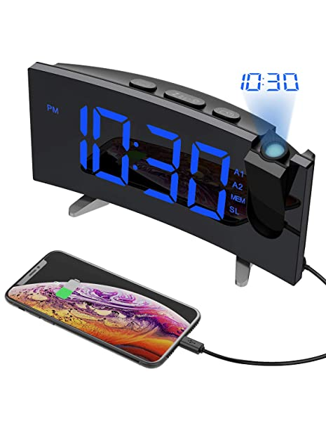 Mpow LED Snooze Alarm Clock Dimmer Sleep Timer Projector FM Radio Projection