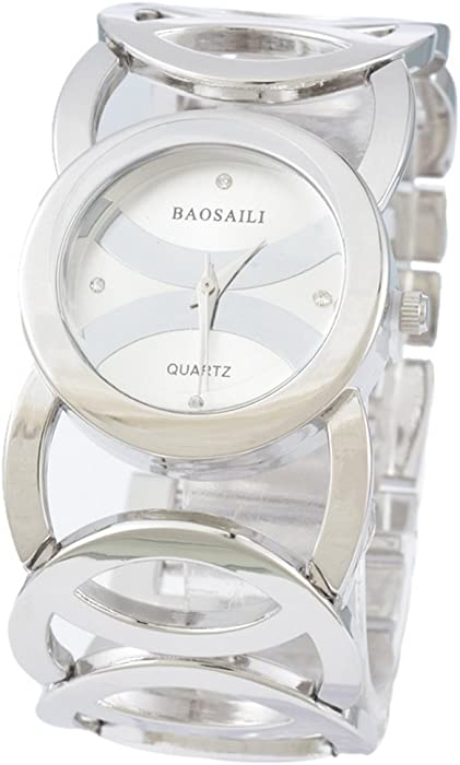 Souarts Womens Silver Tone Color Hollow Round Band White Dial Quartz Analog Wrist Watch 19cm