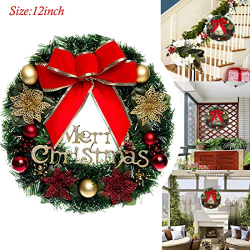 - Anlukers Christmas Wreath with Ball Ornaments Ribbons for Front Door, Decorated Christmas Wreath for Outdoor (Red)