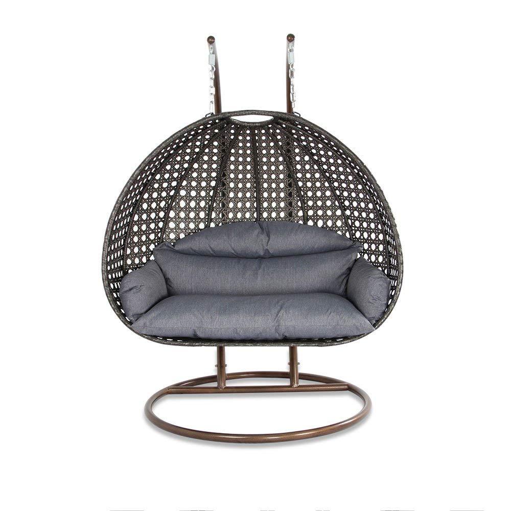Amazon Com Deluxe Swing Chair Outdoor Furniture Pe Rattan Wicker