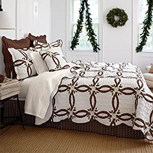 Amazon Com Brylanehome Holly Christmas Quilt Set Ecru