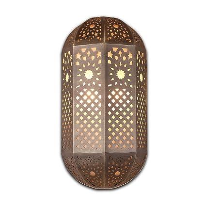 LongYu Lámpara de Pared Tallada Vintage Hueco de la Soldadura Estilo marroquí lámpara de Cobre exótica