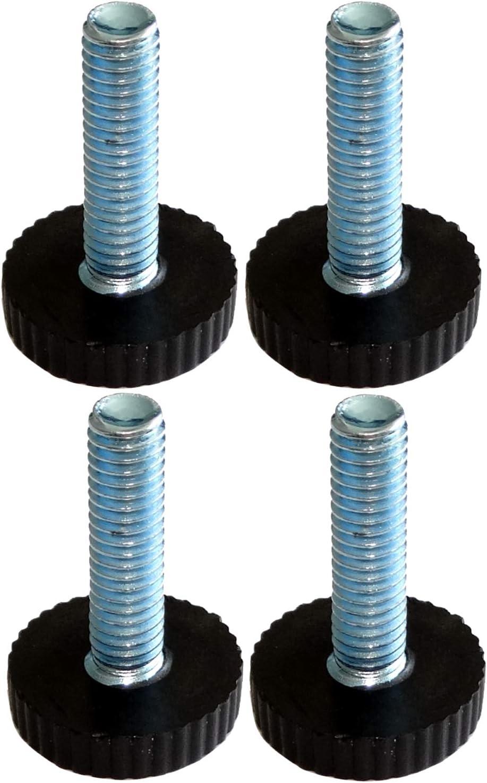 AERZETIX: Patas ajustables regulables para muebles M6 para atornillar Ø18 H27mm negro C42480 (4 piezas)