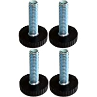 AERZETIX - Meubelpoten verstelbaar, zwart, M6, om te schroeven, Ø18 x H27 mm, C42480 (4 stuks)