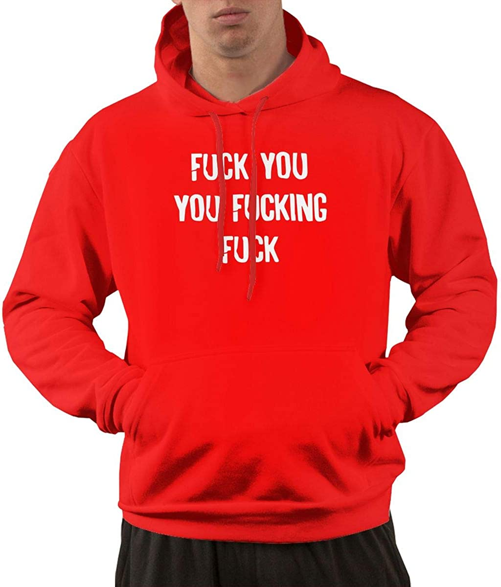 JLPOU-6 Mens Fuck You You Fucking Fuck Pullover Hoodie Sweatshirt with Kangaroo Pocket
