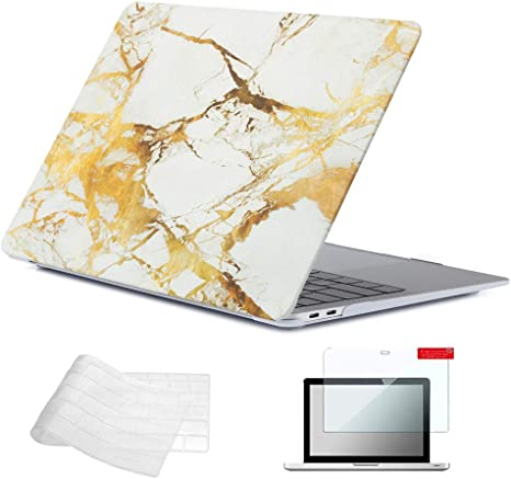 """Bag Mouse Keyboard Skin+ LCD 5 IN 1 Macbook Air 13/"""" Marble White//Gold Case"""