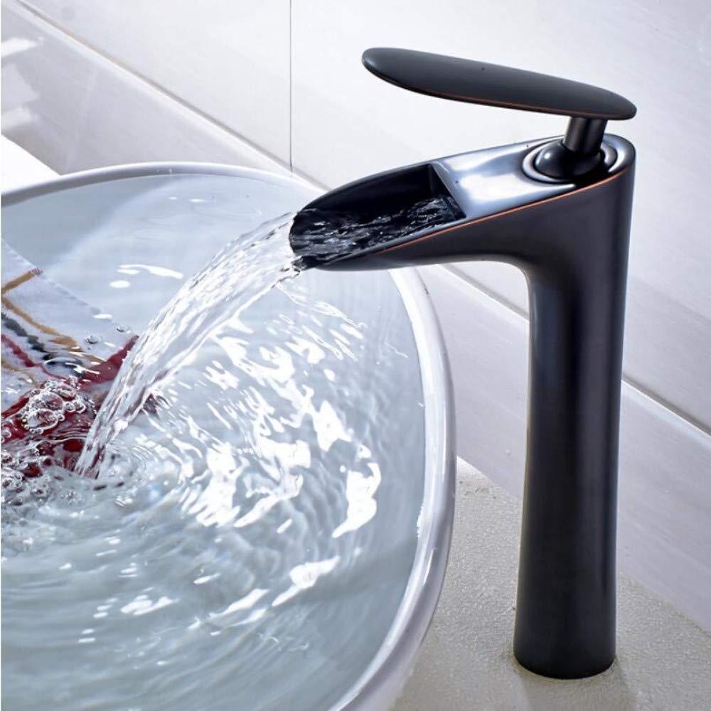 Bathroom Sink Tap Waterfall Tap Tall Bathroom Basin Faucet Brass Bathroom Basin Mixer Tap Hot Cold Crane Sink Faucet Black Oil Tap