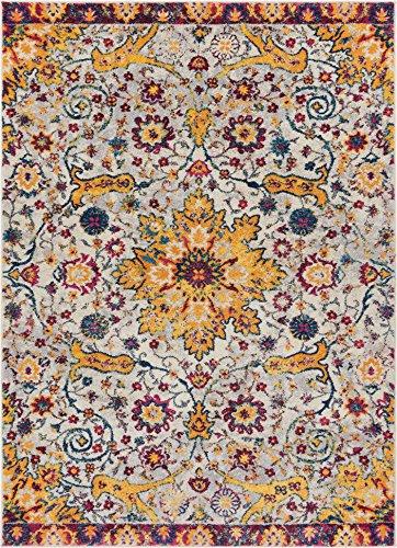 Celestial Boho Medallion 4x6 (3'11'' x 5'3'') Area Rug Yellow, Blue, Purple Distressed Traditional Vintage Floral Oriental