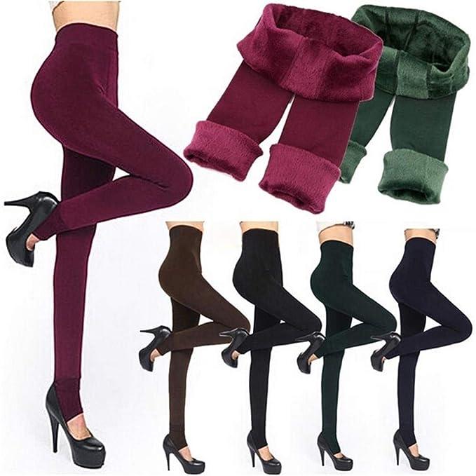 1357d53d12bad Tunsun Lady Women s Winter Warm Skinny Slim Leggings Stretch Pants Thick  Footless Showy (Black)