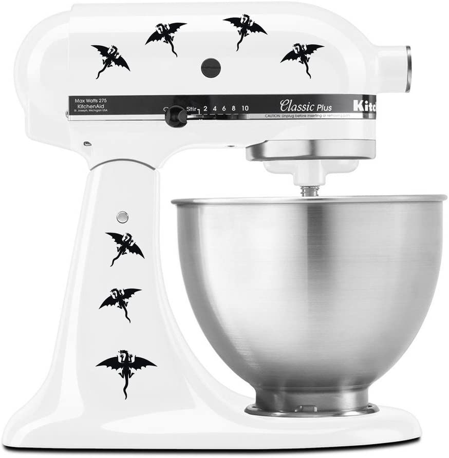 Dragons Flying with Wings Pattern - Vinyl Decal Set for Kitchen Mixers - Black