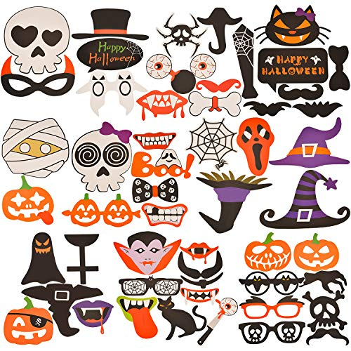 Tatuo 52 Pieces Halloween Party Photo Booth Props