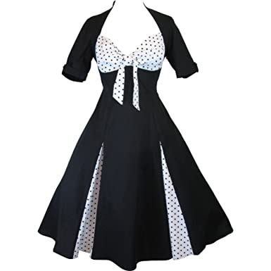 Skelapparel 50\'s Black and White Polka Dot Party Swing Dress at ...
