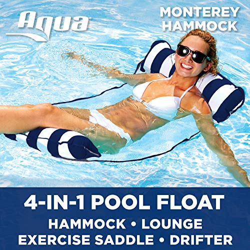 Aqua Monterey 4-in-1 Multi-Purpose Inflatable Hammock (Saddle, Lounge Chair, Hammock, Drifter) Portable Pool Float, Navy/White Stripe (Pool White Chairs)