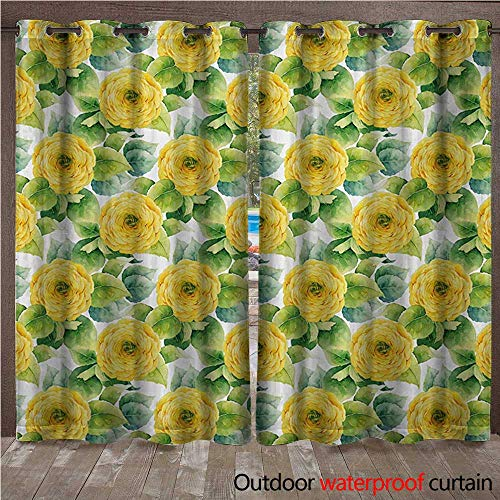 WilliamsDecor Yellow Flower Outdoor Curtain for Patio Blooming Ranunculus Gardening Bedding Plants Leaves Watercolor Artwork W108 x L84(274cm x 214cm)