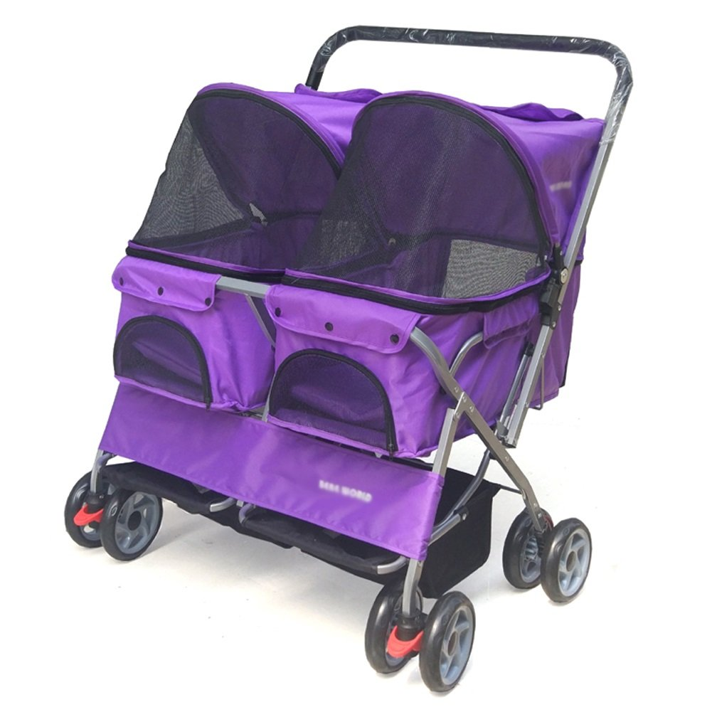 PURPLE GUO@ Double Seat Pet Stroller Double Sleeping Nest Bed Car Lightweight Folding Removable and Washable Trolley Cats Dogs Widen Care Go Out Pet Cart Pet Supplies Carriers and Strollers