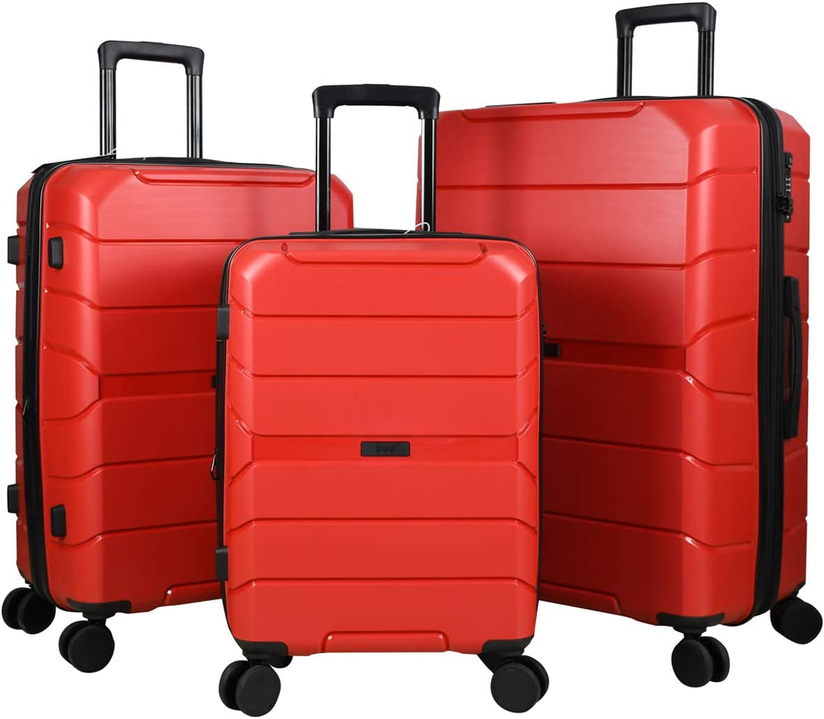 Expandable Luggage 3 Piece Set Suitcase Spinner Scratch Resist PP Hardside